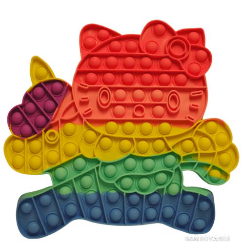 Antistresinis silikoninis žaislas POP IT, kačiukas us vienaragiu