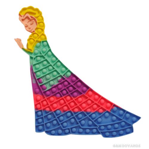 Antistresinis silikoninis žaislas POP IT, princesė